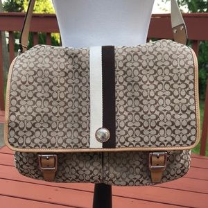 Coach messenger bag brown/cream fabric